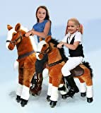 UFREE Large Mechanical Rocking Horse Toy, Bounce up and Down, Ride on Walking Pony for Children 4 to 15 Years Old ( White Mane and Tail, Height 44 Inch)