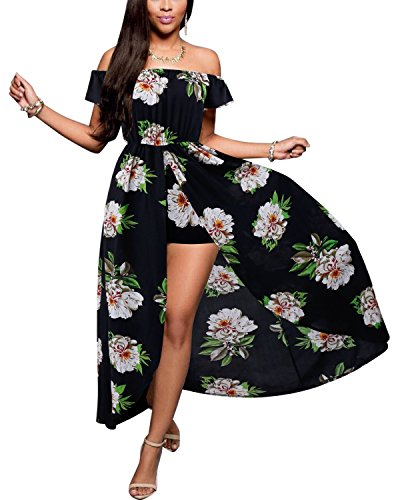 BIUBIU Women's Off Shoulder Floral Rayon Party Maxi Split Romper Dress Black Green 2XL