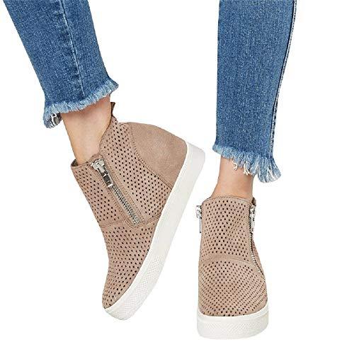 - Womens Wedgie Sneakers Platform Hollow Out High Top Mid Heel Side Zip Wedge Booties Brown