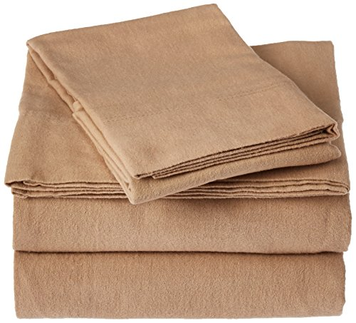 Flannel Cashmere (Tribeca Living Queen Luxury Solid Flannel Deep Pocket Sheet Set, Cashmere)
