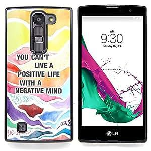 """Cita positiva Consejos texto"""" - Metal de aluminio y de plástico duro Caja del teléfono - Negro - LG Magna / G4C / H525N H522Y H520N H502F H500F (G4 MINI,NOT FOR LG G4)"""