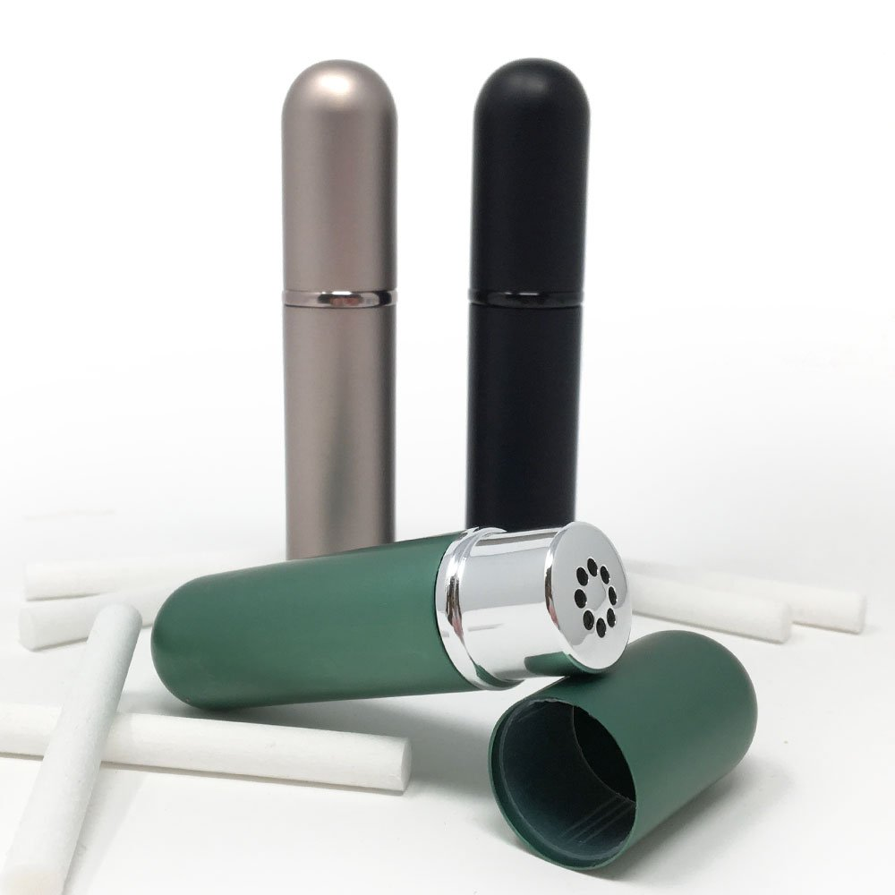 Set of 3 Black, Teal Mink Empty Essential Oil Personal Inhaler Refillable Aluminum Glass Plus 6 Wicks by Rivertree Life