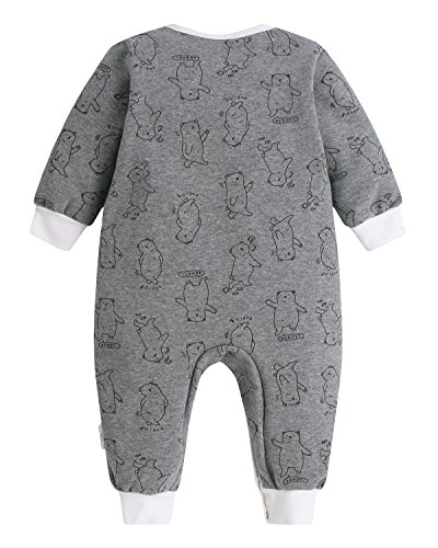 Kidsform Unisex Baby Romper Print Button Footless Bodysuit Onesie One-piece Pajamas Jumpsuit Bear 6-9M