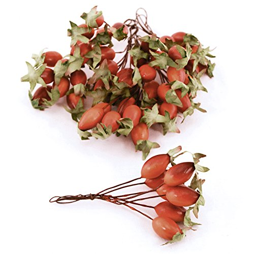 FloristryWarehouse Artificial Rosehip Berry Picks Orange, Box of 36