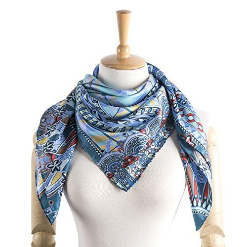 "Women's Foulard 100% Silk Printed Scarf Square, Twill, 35""x35"" (Blue) -"