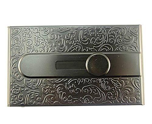 Emboss Aluminum Slide Name Business ID Credit Card Case Holder Pocket (Black)