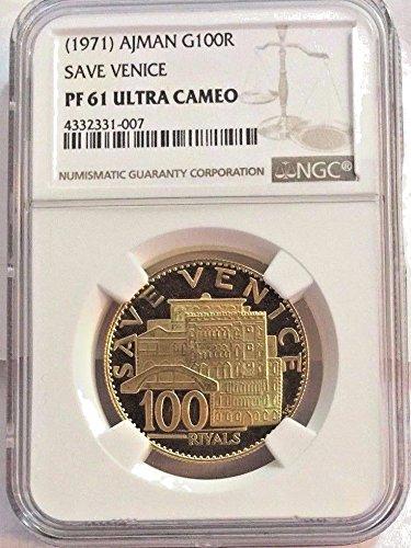 1971 AE Rare Ajman 1971 Gold Coin 100 Riyals United Arab coin PF 61 Ultra Cameo NGC