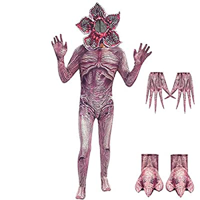 Kids Demogorgon Costumes Halloween Zentai Dress Up Jumpsuit Bodysuit Horror Cannibal Flower Cosplay Party Full Set: Clothing