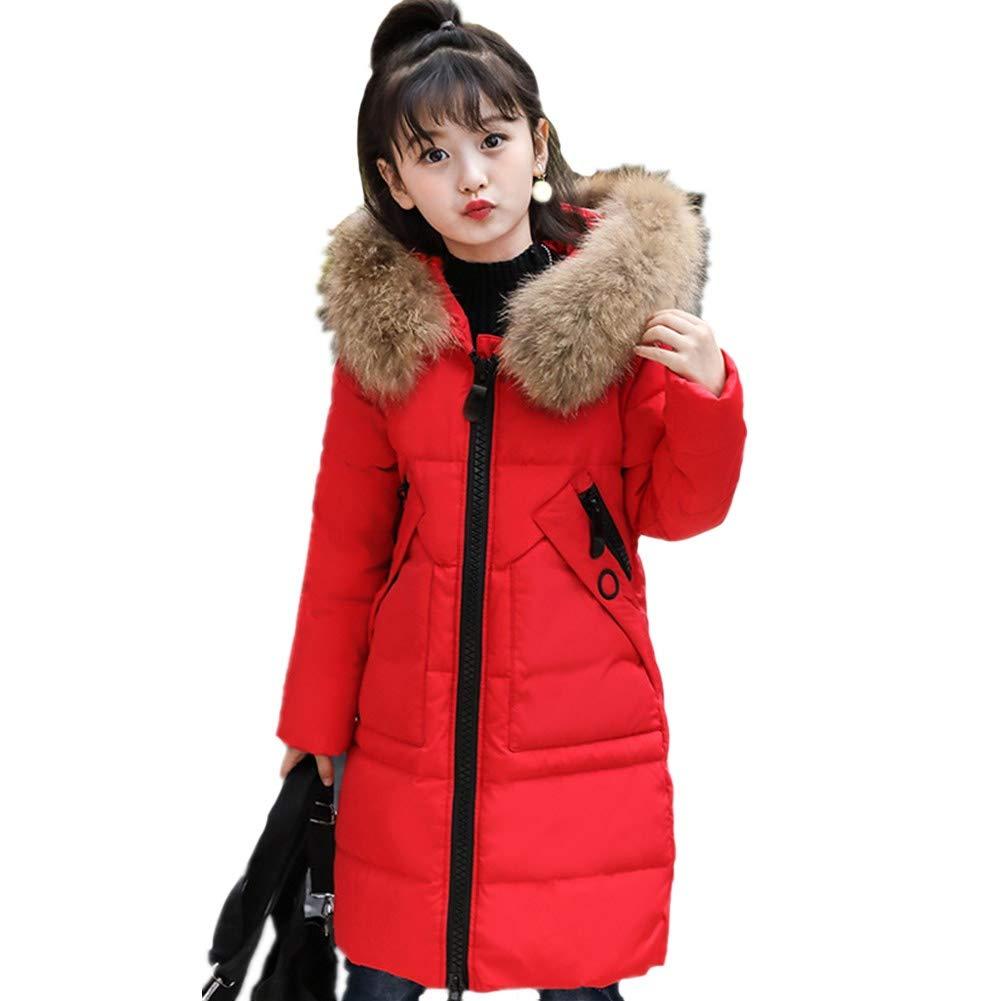 rouge 130cm YZ-HODC Enfants Hiver Unisexe Doudoune épaissir Capuche vêteHommests Section Moyenne et Longue Canard Blanc Duvet