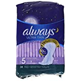 Always Ultra Thin, Size 5, Extra Heavy Overnight Pads With Wings, Unscented, 34 Count