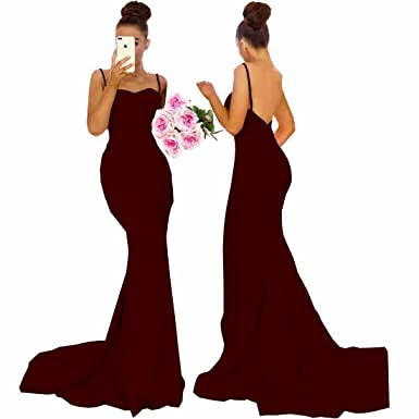 14105cebec Chady Elegant Mermaid Pink Bridesmaid Dresses 2018 Sexy Spaghetti Straps  Satin Prom Dress Country Style Wedding Party Gowns at Amazon Women s  Clothing store ...