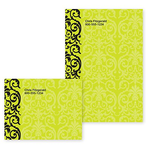 Elegant Lace Lime Green Personalized Post-it Notes - 4