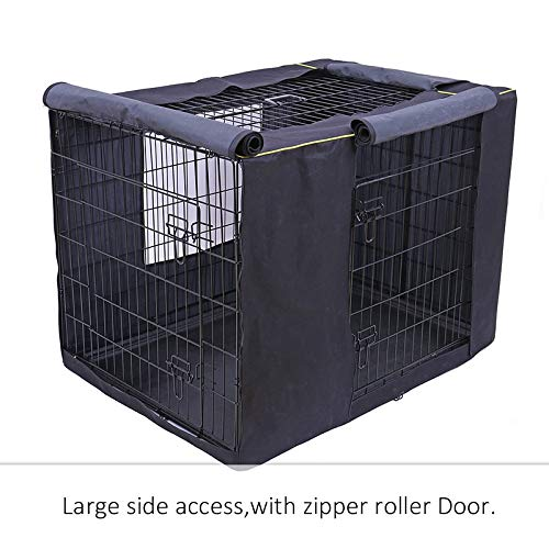 Moonnight Store Pet Dog Cages Cover Waterproof Non-Slip Solid Extra Kennel Cage Cover for Medium Large Dogs 3 Sizes Travel Training Dog Products (Black - XXL)