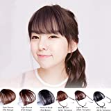 HAIQUAN Natural Real Human Hair Flat Bangs/Fringe Hand Tied Bangs Fashion Clip-in Hair Extension (Flat Bangs with Temples, Natural Black)