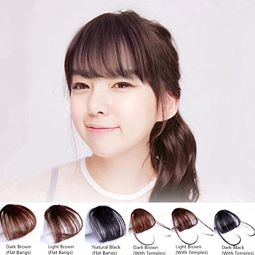 Hair Bangs Clip - HAIQUAN Natural Real Human Hair Flat Bangs/Fringe Hand Tied Bangs Fashion Clip-in Hair Extension (Flat Bangs with Temples, Natural Black)