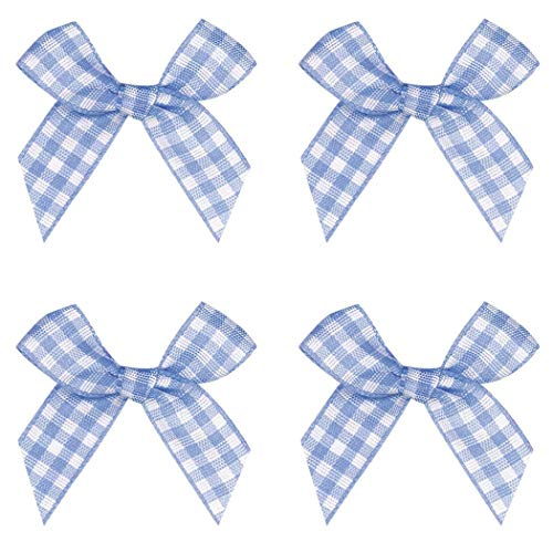 - Gingham Craft Ribbon Bows Mini Checkered Ribbon Flowers Appliques for Sewing, Gift, DIY Craft, Wedding Decoration Ornament (Light Blue, 48PCS)