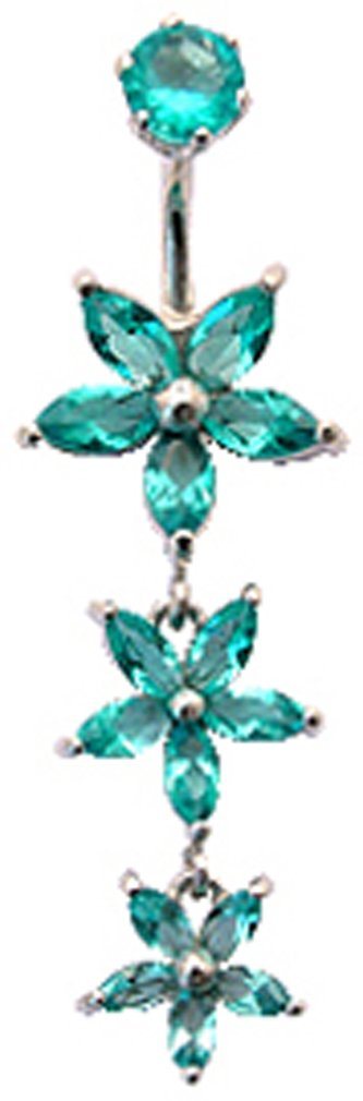 Silver dangle flower belly button rings with CZ Aquamarine crystal - packed in a lovely velvet pouch