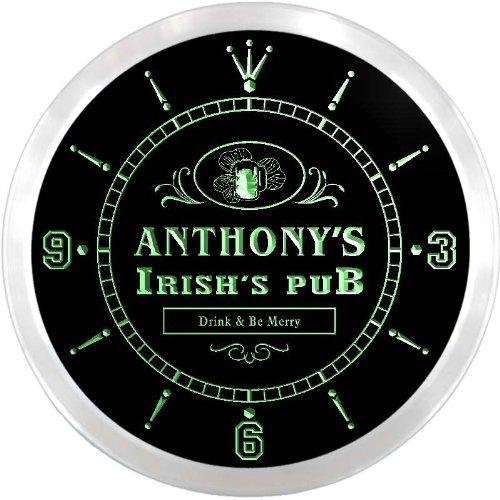ADVPRO ncx0022-tm Anthony's Irish's Pub Shamrock Custom Name Neon Sign Clock