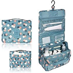 Mr.Pro Waterproof Travel Kit Organizer Bathroom Storage Cosmetic Bag Carry Case Toiletry Bag with Hanging Hook (Polka Dot Blue)