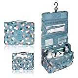 Portable Travel Makeup Cosmetic Bag - Mr.Pro Waterproof Haning Travel Kit Toiletry Bag Bathroom Organizer Carry On Case (Polka Dot Blue) (Paperback)