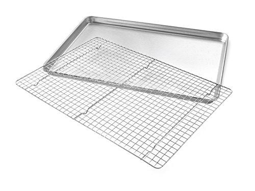 USA Pan 1607CR Bakeware Extra Large Sheet Baking Pan and Bakeable Nonstick Cooling Rack Set, XL Metal by USA Pan (Image #1)