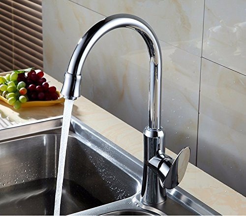 (Full copper rotatable large elbow faucet hot and cold water kitchen faucet sink sink faucet)
