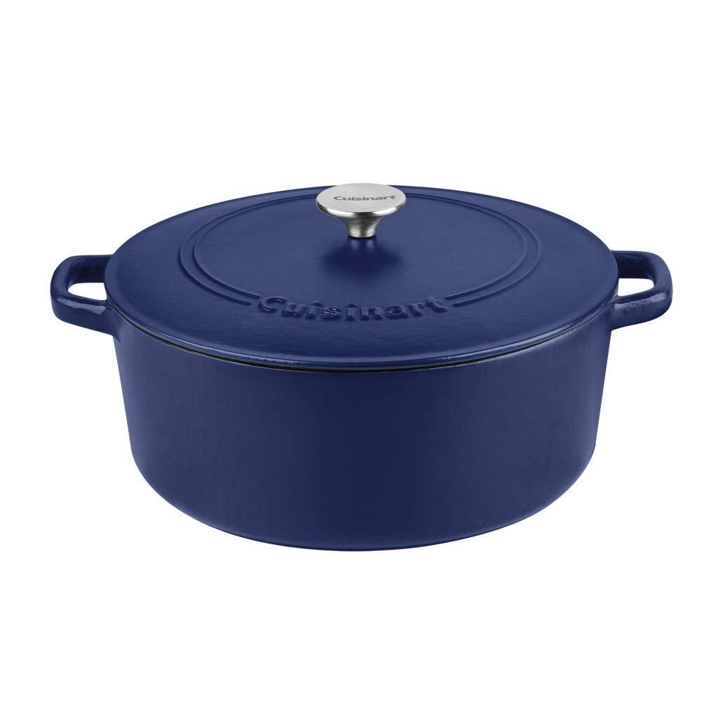 Cuisinart Round Cast Iron Casserole, Matte Navy, 7 Qt