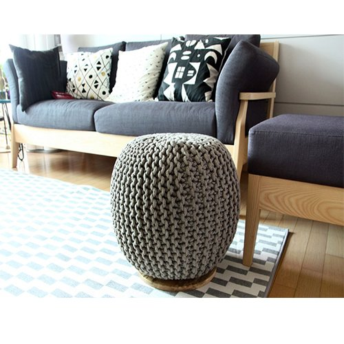 CNC Washable Cover Knit Pouf With Wooden Top Table, Home Decoration, Side Table by CrossCrown (Image #5)