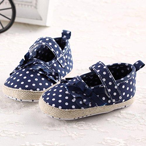 Jamicy® Baby-Mädchen-Segeltuch-Schuh-Weinlese-rutschfeste weiche alleinige Kleinkind-Schuhe Blau