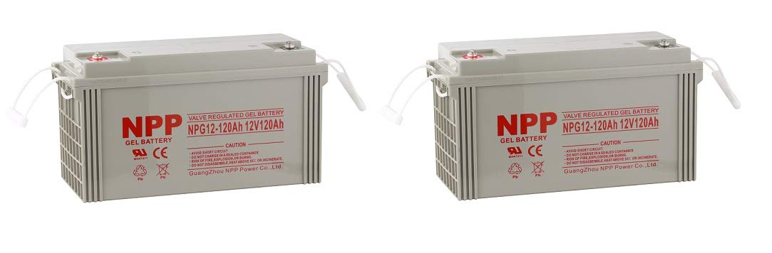NPP NPG12-120Ah AGM Rechargeable Gel Deep Cycle 12V 120Ah Battery Button Style Terminals (2 Pack)