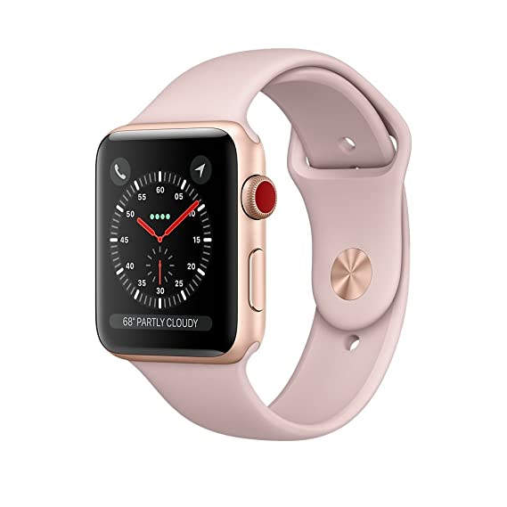 77f8ba1cd6d Apple Watch Series 3 - GPS+Cellular - Gold Aluminum Case with Pink Sand  Sport Band - 38mm  Amazon.ca  Cell Phones   Accessories