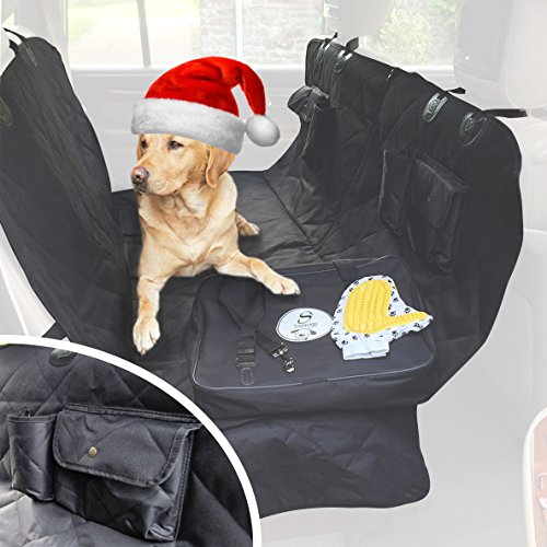 Dog Car Seat Cover for Pets - Heavy Duty Luxury Rear Seat Hammock Protector - Waterproof Backseat Cover Split Zip Non-Slip Scratchproof Pet Cat Blanket for Cars Trucks and SUVs - Large Universal Black