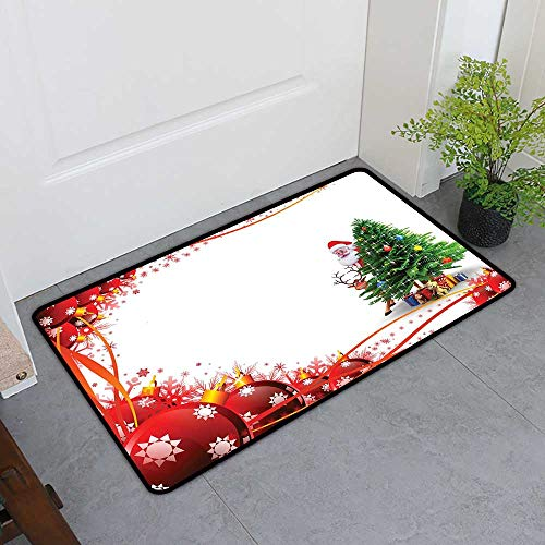 (TableCovers&Home Dog-Cat Mat, Santa Custom Out-Imdoor Rugs for Kitchen, Father Christmas and Reindeer Smiling Behind a Festive Pine Tree in Red Balls Frame (Multicolor, H16 x W24))
