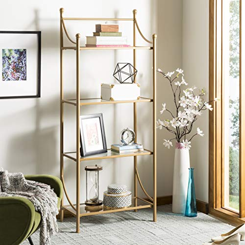 Curves Gold Glass - Safavieh ETG6207A Home Collection Diana 4 Tier Etagere, Gold Liquid and Tempered Glass