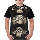 Men's Unique T Shirts Cute Chimpanzee Funny Face Short Sleeve T-Shirt