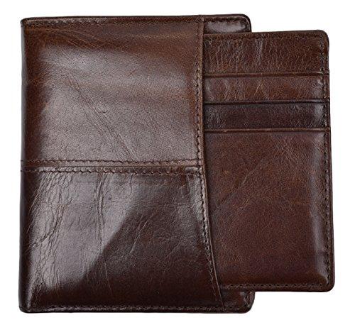 Yeeasy Men's Genuine Leather Bifold Wallet Men Vintage Leather Wallet Handmade (Brown with Slim Wallet)