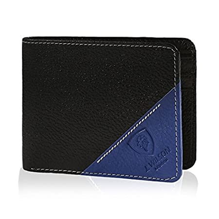 J. Wilson London Mens Bifold Coin Leather Wallet Blue 512GK2q9Z5L