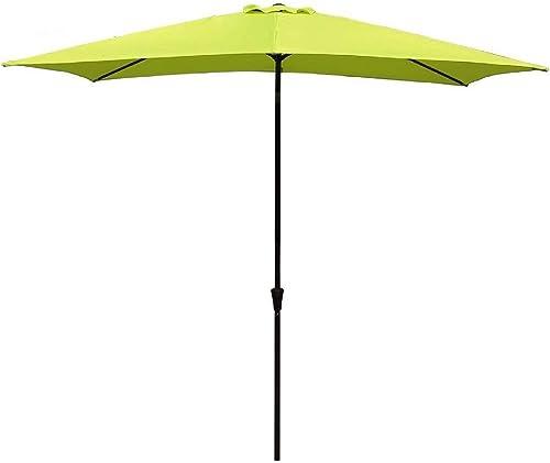 COBANA Rectangular Patio Umbrella, Outdoor Table Market Umbrella with Push Button Tilt Crank, 6.6 by9.8 , Lime Green