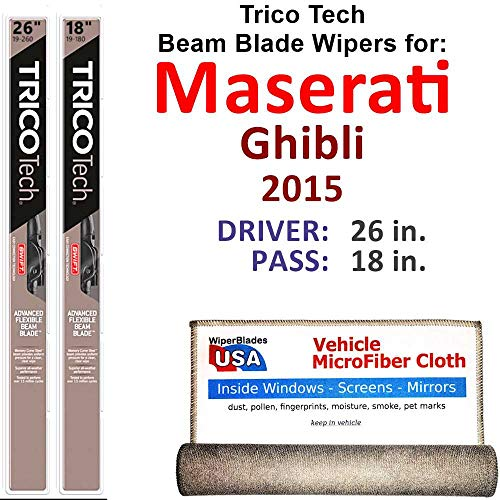 Maserati Part - Beam Wiper Blades for 2015 Maserati Ghibli Driver & Passenger Trico Tech Beam Blades Wipers Set of 2 Bundled with Bonus MicroFiber Interior Car Cloth