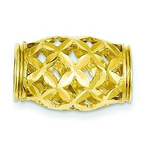 14K Yellow Gold Barrel Slide Pendant Charm Jewelry