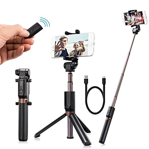Selfie Stick Bluetooth, Extendable Aluminum Alloy Selfie Stick Tripod with Wireless Remote Monopod, Bonus Selfie Ring Light, Fits for iPhoneX/8/8P/7/7P/6sPlus, Galaxy S6/S8, Google, Huawei and More by Aokely