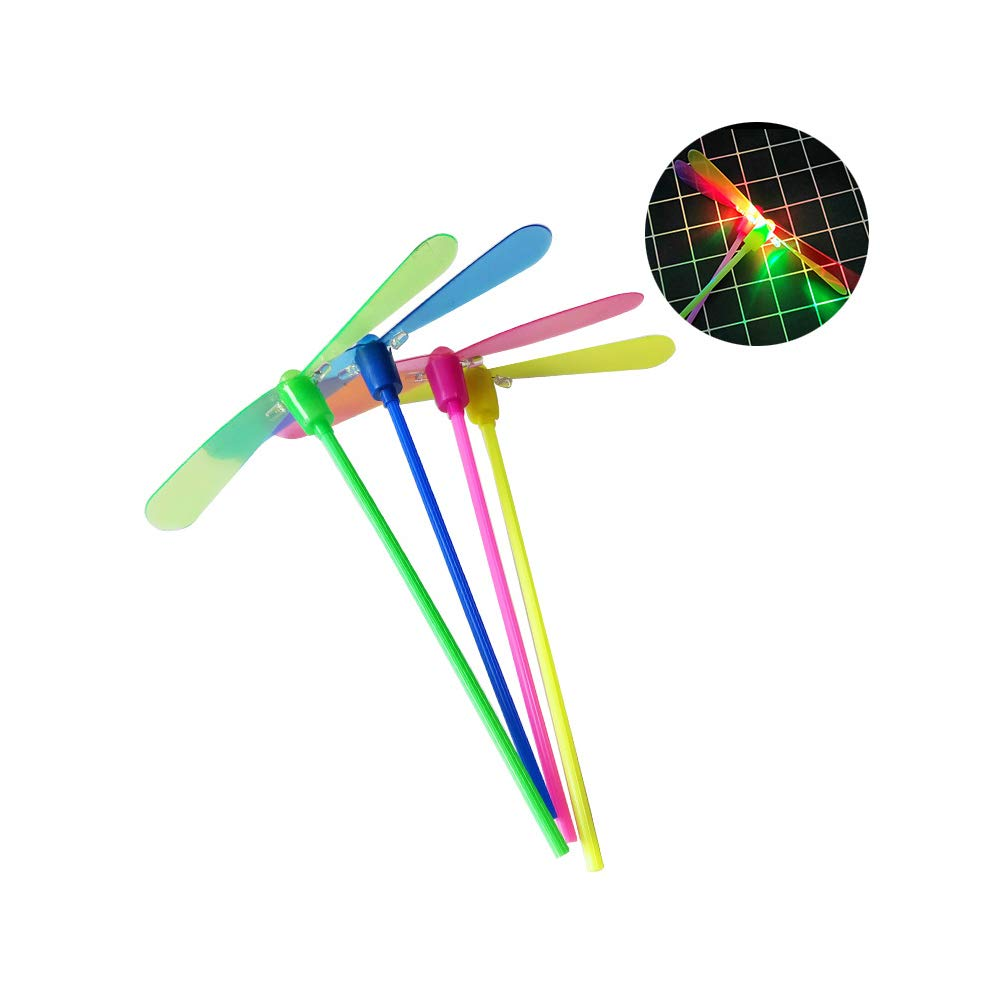 10pcs Glowing Light-up Bamboo-Copter Plastic Dragonfly Toy Funny Kid Toys for Children