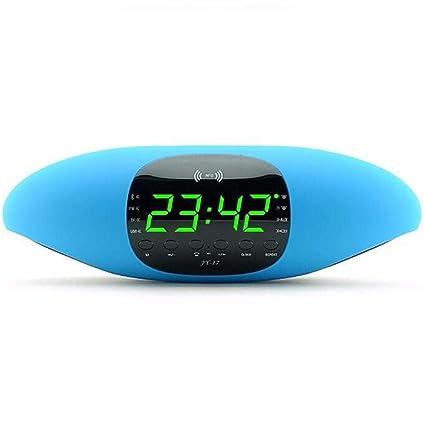 HLMF Pantalla Digital Grande Reloj Despertador Altavoz Bluetooth Tarjeta NFC de Audio Software de
