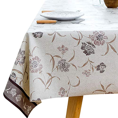 LOHASCASA Vinyl Oilcloth Tablecloth Rectangle Heat Resistant/Oil-proof Wipeable Thick PVC Plastic Long Oblong Tablecloths for Spring Outside Picnic - Petal Gray 54 x 84 Inch ()