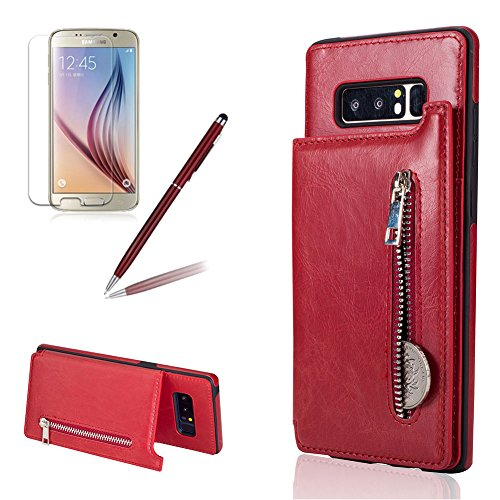 For Samsung Galaxy Note 8 Case,Girlyard Multifunction Premium Zipper Wallet Leather Purse Case Magnetic Closure Folding Stand Function Shockproof Protective Case for Samsung Galaxy Note 8-Red (Multifunction Leather Note)
