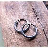 Black Hoops for Men - Oxidized Sterling Silver Hoop Earrings - Small Huggies for Tragus, Helix - Men's Earrings