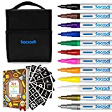 Sacradi Paint Pens for Any Surface - Set of 12 Vibrant Colors Extra Fine Point Tip Permanent Markers Water-Based + eBook + 68 PVC Drawing Stencils + Fabric Case