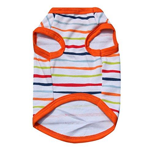 Voberry Small Dog Shirt Pet Dog Summer T-Shirt Dog Cat Striped Cotton Vest Shirt (S, Orange)
