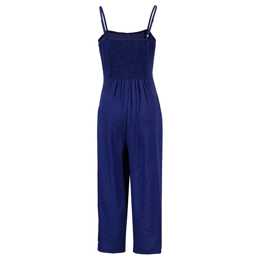 GWshop Ladies Fashion Elegant Jumpsuit Women Jumpsuits Elegant Wide Leg Sleeveless High Waisted Summer Pants Blue L by GWshop (Image #2)