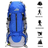 ONEPACK 50L(45+5) Hiking Backpack Daypack Waterproof Outdoor Sport Camping Fishing Travel Climbing Mountaineering Cycling Skiing (Blue 2)